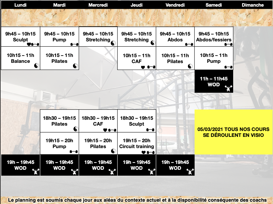 Planning cours fitness crossfit