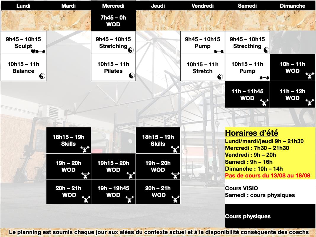 Planning fitness et crossfit bourg-la-reine