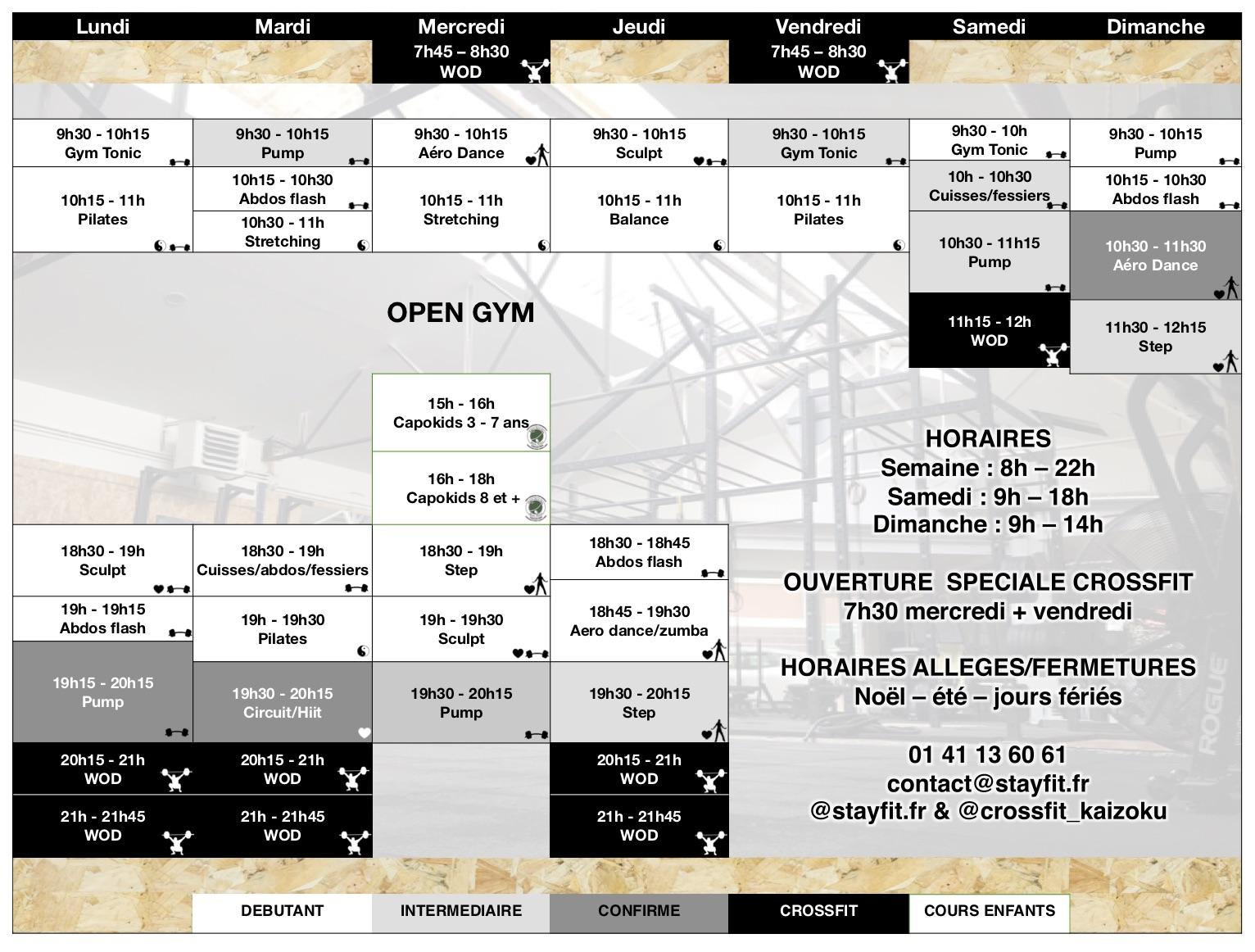 Planning CrossFit & Fitness Stay Fit Bourg-la-Reine
