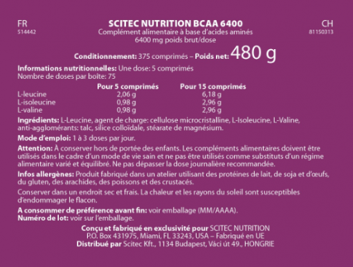 BCAA 6400 375 cps - SCITEC