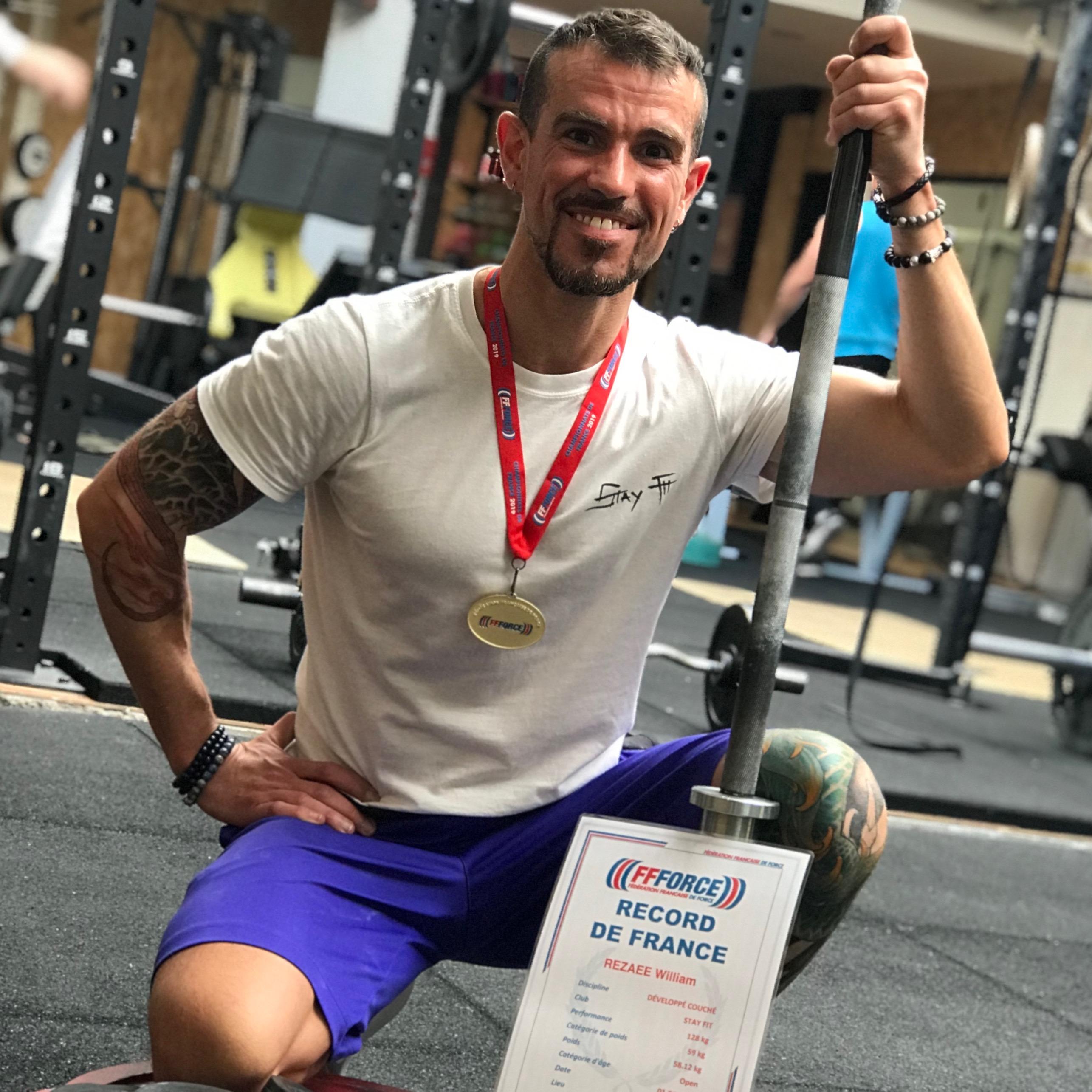 William Rezaee champion de France de powerlifting